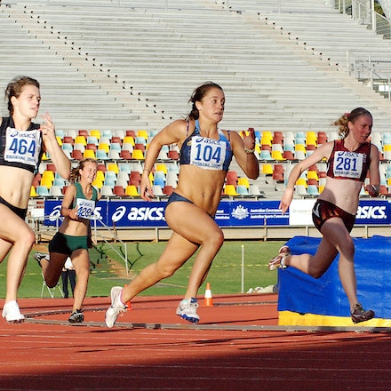 From light to dark - Karlie Morton, centre, leads the field into the straight in the 200m as part of the U18 Interstate Challenge held in conjunction with...