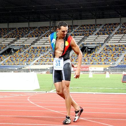 Josh Ross - Josh Ross dances in celebration after winning the 2009 Australian 100m title in 10.34 seconds.