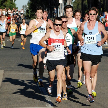 Athletics NSW / Sydney Striders Road Race - Barry Keem and Christopher McDonald lead the chase pack after Scott Westcott and Anthony Haber broke away early...