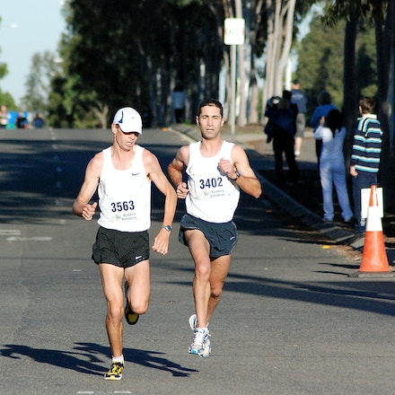 Athletics NSW / Sydney Striders Road Race - Scott Westcott and Anthony Haber broke away for an early lead from the rest of the field, which they would...