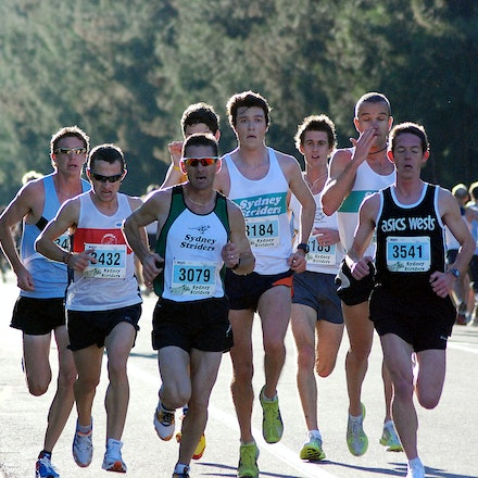 Athletics NSW / Sydney Striders Road Race - The chasing pack that would fight out the bronze medal, featuring Barry Keem, Jeremy Horne and Luke Taylor,...
