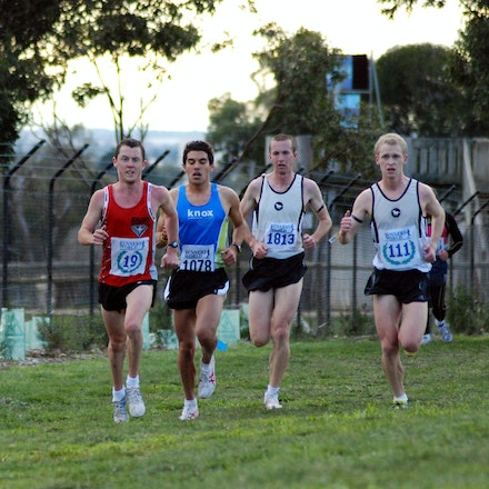 Lead pack - Left to right: Duer Yoa, Liam Adams, Kane Willie,  Andrew White and Chris Hamer in action in the 2009 Victorian 12km Cross Country Championships...