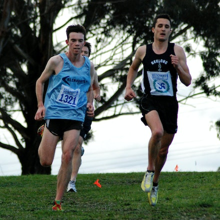 Rayner and Woolhouse - Toby Rayner and Jason Woolhouse run side-by-side during the 2009 Victorian 12km Cross Country Championships at Bundoora Park.