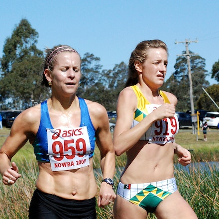 Leadbeatter and Nash - Silver and bronze medallists in the 2009 Australian Cross Country Championships, Angela Leadbeatter and Fiona Nash, run side by...