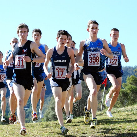 Chase Pack - The chasing pack behind Harry Summers in the junior race at the 2009 Australian Cross Country Championships at Willandra: Todd Wakefield (398),...