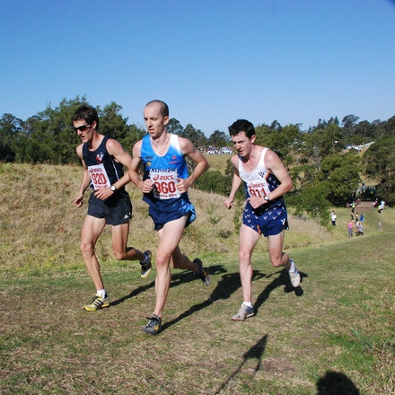 Lead pack - The lead pack, and eventual medallists in the 2009 Australian Cross Country Championships at Willandra: Clint Perrett (gold), Jeff Hunt (silver)...