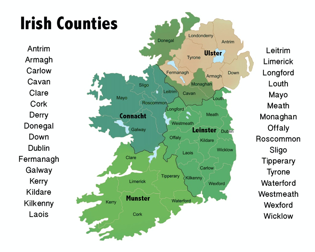 Map Of Ireland Counties And Provinces.Counties And Provinces